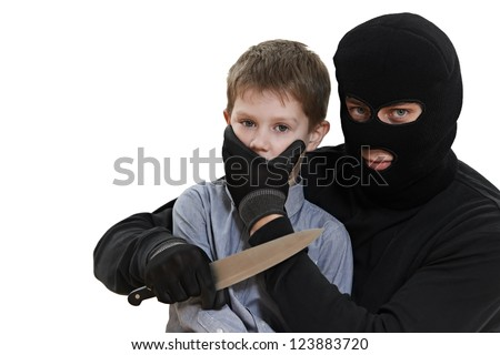 Thief Burglar kidnapper threaten the little child with knife during kidnapping. isolated on wite - stock photo
