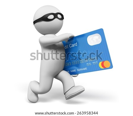 Thief. 3D. 3d Thief stealing credit card, isolated/clipping path - stock photo