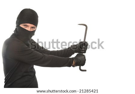 thief dancing with crowbar on the isolated background - stock photo