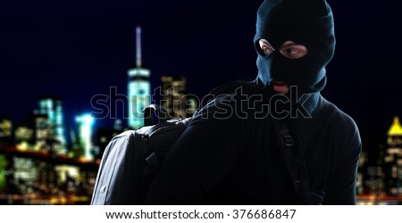 Thief escaping in the night