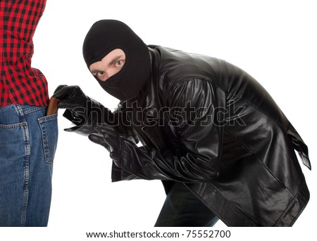 thief in black jacket and balaclava - pickpocket in action - stock photo