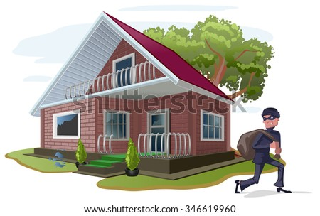 Thief robbed country house. Property insurance - stock photo