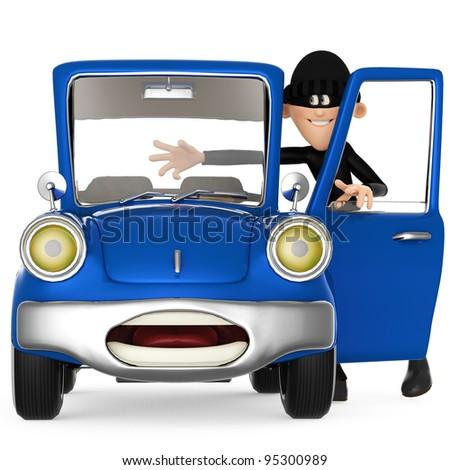 thief stealing a car cartoon - stock photo