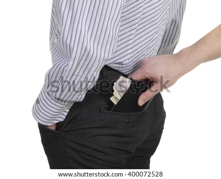 thief steals a purse from man - stock photo