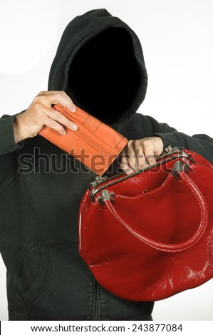 Thief steals from a woman's purse - stock photo