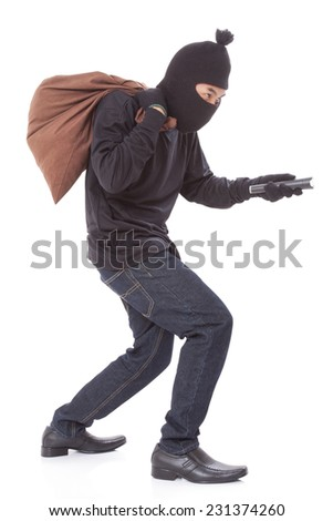 Thief with bag and holding flashlight, isolated on white background