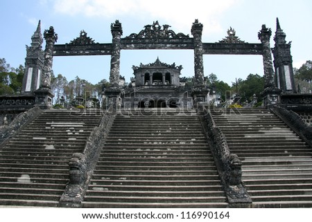Thien Dinh Palace (UNESCO) in Hue, Vietnam - stock photo
