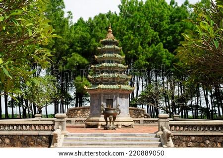 Thien M? Pagoda is a historic temple in the city of Hue in Vietnam. Its pagoda has seven storeys and is the tallest religious building in Vietnam. - stock photo