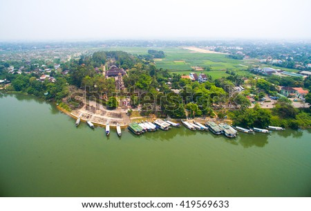 Thien Mu pagoda from drone. Hue, Vietnam.