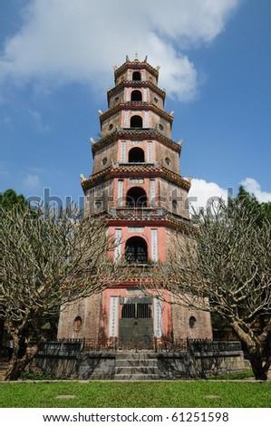 Thien Mu pagoda in Hue, Vietnam. - stock photo