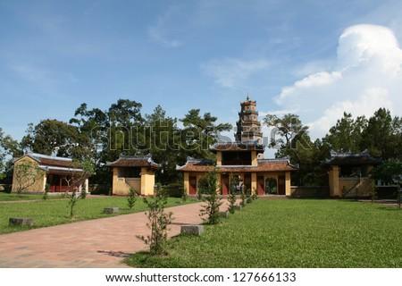 Thien Mu pagoda monastery near perfume river in Hue Vietnam