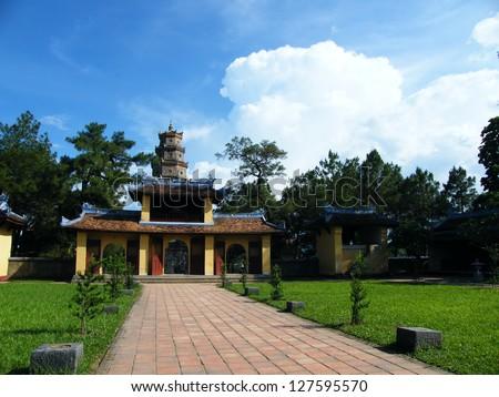 Thien Mu pagoda, Temple at Perfume river in Hue, Vietnam - stock photo