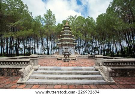 Thien Mu Pagoda Temple, Hue, Vietnam - stock photo