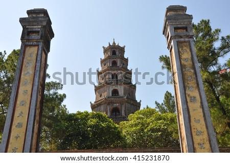 Thien Mu Pagoda. Unesco World Heritage Site. Hue. Vietnam - stock photo