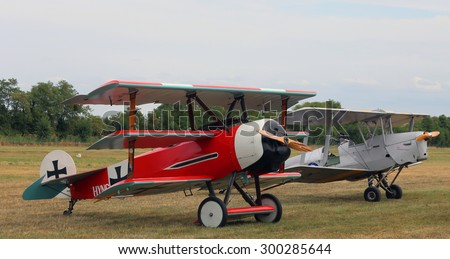 Thiene, Vicenza - Italy. 26th July, 2015: Air show called FlighThiene in Thiene Airport near Vicenza City in Northen Italy with historical airplanes. Red Triplane Fokker DR-1