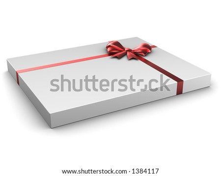 Thin box gift with satin bow