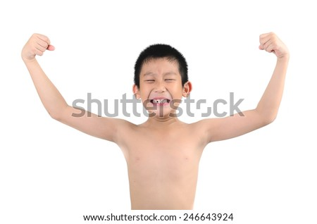 Thin boy showing his muscles isolated on white background - stock photo