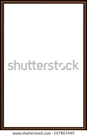 thin brown wooden frame for a picture a white background inside