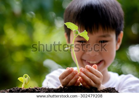 Thin focus on hand, Child holding young seedling plant in hands on green background to plant on soil. Concept Earth day - stock photo