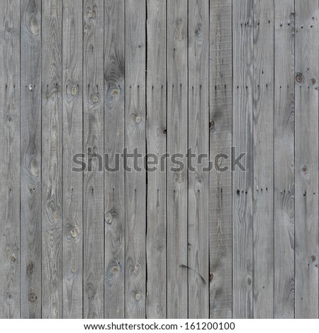 Thin grey planks installed evenly and vertically with dark streaks coming from nails. - stock photo