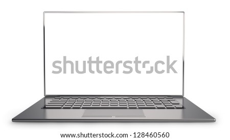 thin laptop with screen isolated on white background  High resolution 3D