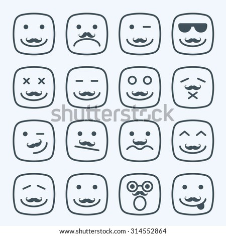 Thin line emotional moustache square yellow faces icon set - stock photo