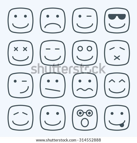 Thin line emotional square yellow faces icon set - stock photo