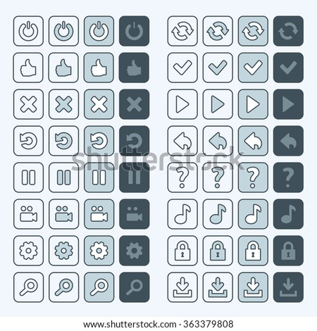 Thin line game icons buttons interface ui set