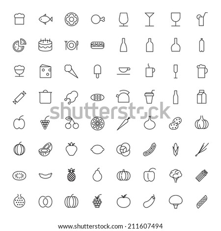 Thin Line Icons For Food and Drinks - stock photo