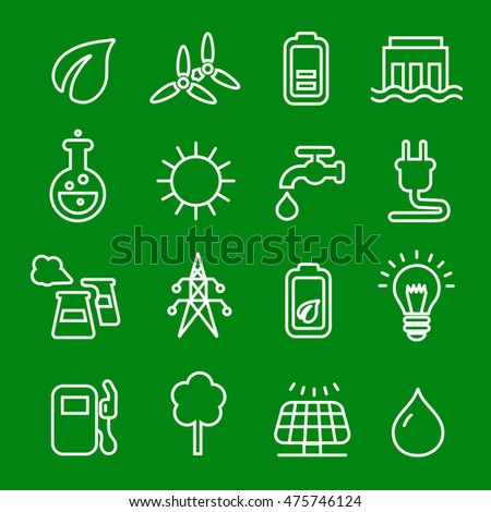 Thin line icons set of power natural renewable energy,