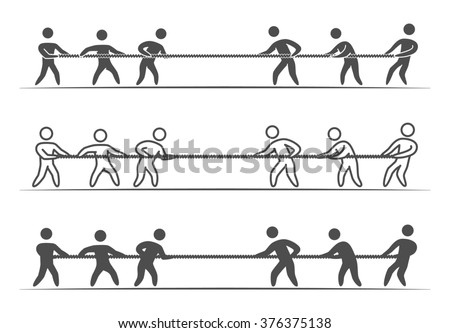Thin linear tug of war logo and icon. Line figures people. Tug of war label and badge. - stock photo
