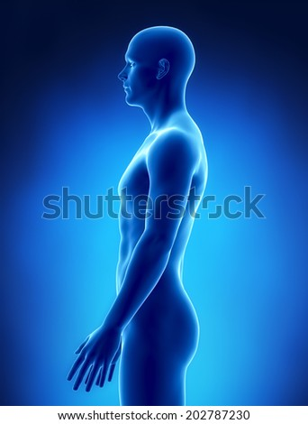 Thin man left view - stock photo