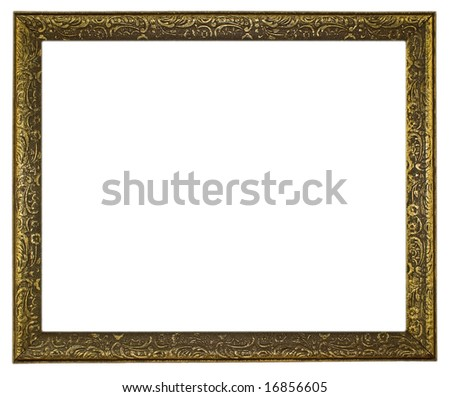 Thin, Ornate Gold Frame on White Background - stock photo
