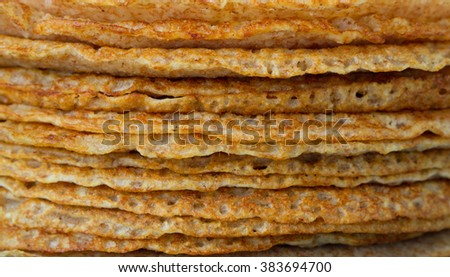 Thin pancakes Whole-grain cereal.
