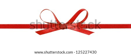 thin red bow with horizontal ribbon, isolated on white - stock photo