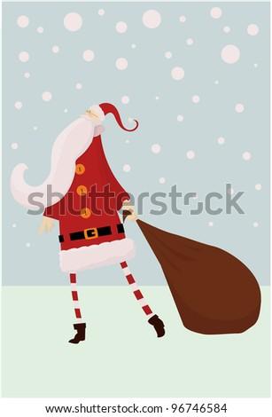 thin santa claus in snow christmas card (raster version) - stock photo