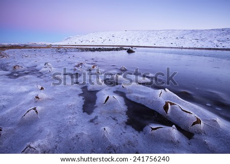 Thin sea ice cracking over stones and grass as sea level falls at low tide. December evening at Helgeland coast, Nordland, Norway. Focus on cracks.  - stock photo