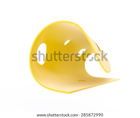thin slice of tasty cheese with holes - stock photo