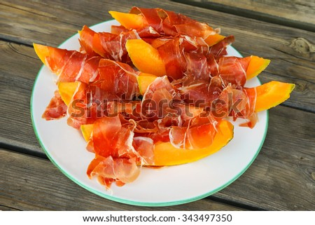 Thin slices of Prosciutto served with fresh and juicy cantaloupe Melon - stock photo