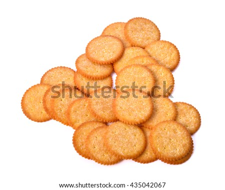 Thin sugar cookies Isolated on white background .