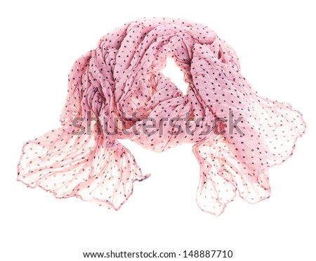 thin summer scarf isolated on white background