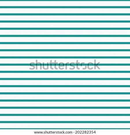 Thin Teal and White Horizontal Striped Textured Fabric Background that is seamless and repeats - stock photo