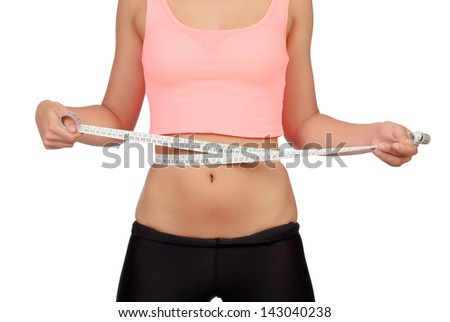 Thin waist woman with a tape measure isolated on a white background