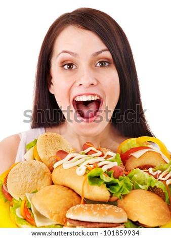 Thin woman holding group hamburger. - stock photo