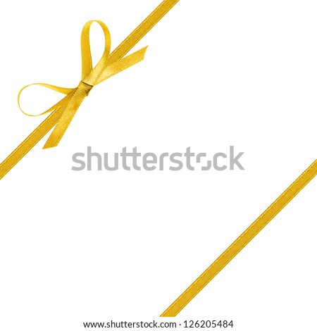 thin yellow bow with ribbon, isolated on white background - stock photo