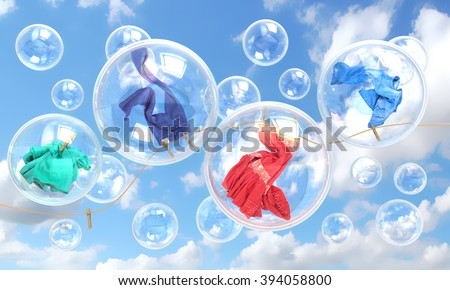 things falling in soap bubbles concept of clean washing and freshness - stock photo