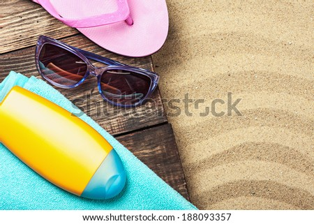 things for a beach holiday on the sea sand