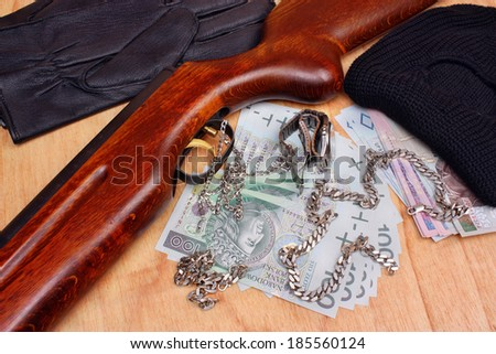 Things polish bandit criminal and stolen loot by thieves - stock photo