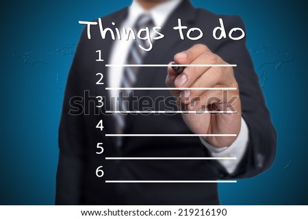 Things to do,Executive as a background - stock photo