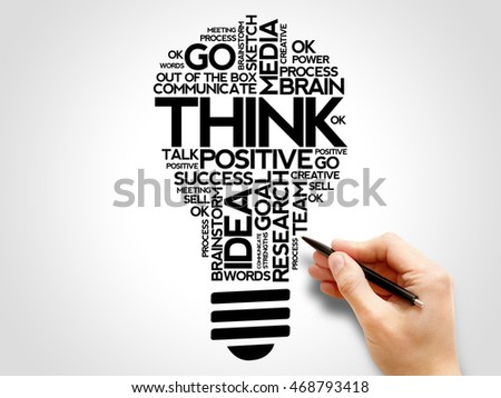 THINK bulb word cloud collage, business concept background